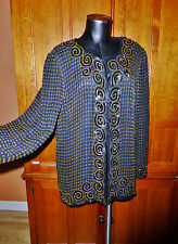 Vtg 80s pure 100% Silk Sequin Beads Embroidery Evening Formanl dress JACKET L