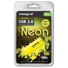 Integral 8GB Neon USB 3.0 Flash Drive in Yellow - Up To 10X Faster Than USB 2.0.