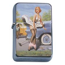 Windproof Refillable Fliptop Oil Lighter Classic Vintage Model Pin Up Girl D-189