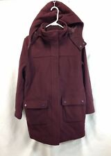 LL Bean Duffle Coat Jacket Women Large Petite Plum Lambs Wool Hood Thinsulate