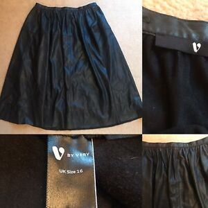 Ladies Very Size 16 Flared Skirt Black Leather Look Immaculate Condition
