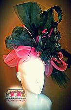 READY TO SHIP KENTUCKY DERBY Punk Headband Black Pink XL Fascinator Hat CONTEST