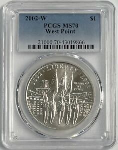 2002-W West Point Commemorative Silver Dollar PCGS MS70