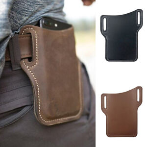 Men's Genuine Leather Cell Phone Belt Pack Bag Loop Waist Holster Pouch Case