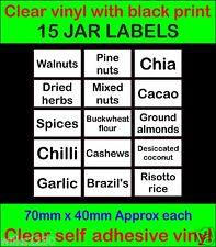 15 Clear adhesive vinyl JAR LABEL Walnuts Chilli Cacao Brazil's Storage Sticker