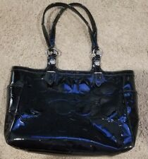 """Coach Embossed Gallery Patent Leather Black Tote Bag in Black - 13""""L x 9""""H x 5""""W"""