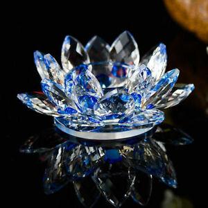 Blue Crystal Glass Lotus Flower Candle Tea Light Holder Candle stick Decor Gift
