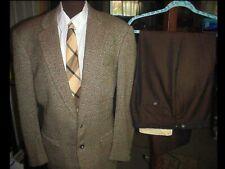 Vintage Mens 60's Rat Pack Swinger Disco Suit Jacket 44 Pants 34 w/ Neck Tie