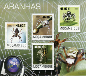 Mozambique Spiders Stamps 2014 MNH European Yellow Garden Spider Insects 4v M/S