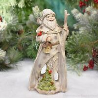 """Birch Santa Figurine with Tree Carving Tabletop Christmas Decoration 9"""""""