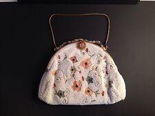 VNTG DORMAR 1930s Beaded Evening Bag Clutch Embroidered Floral Belgium Handmade