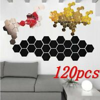 3D Mirror Hexagon Vinyl Removable Wall Sticker Decal Home Decor Art DIY aa