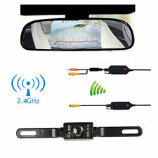 LCD Car Rear View Backup Mirror Monitor+Wireless Reverse 7 LED Camera System Kit