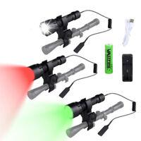 5000Lm Rojo/Verde/Blanco Caza LED Linterna Antorcha Interruptor montaje pistola