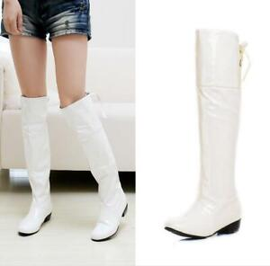 Women Round Toe Chunky Heel Over Knee High Boots Lace Up Runway Plus Size 34-47