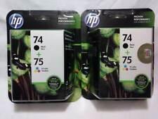 2 GENUINE HP COMBO PACKS 74 BLACK & 75 TRI-COLOR INK CARTRIDGES HEWDTCC659FN