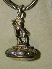 Vtg UK Hallmark Rampant Lion Scottish Heraldic Sterling Silver Fob Pendnat 1i 42