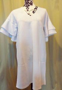 Missguided White short frill sleeve mini size UK 8