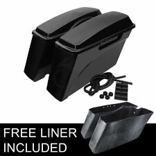 Hard Saddle bags Saddlebags For Harley HD Road King Glide Softail DYNA Black NEW