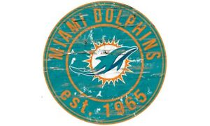 MIAMI DOLPHINS Round Distressed Sign 24x24