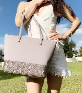 Kate Spade Joeley Lola Greta Glitter Penny Large Top Zip Tote Handbag WKRU6278