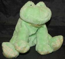 """Little Frobbit Green Frog Plaid Feet Patches Baby Gund Plush Stuffed Toy 8"""""""
