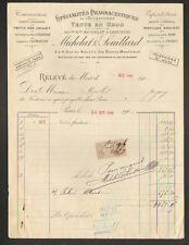 """PARIS (IV°) PRODUITS PHARMACEUTIQUES Accessoires """"MICHELAT & SOUILLARD"""" 1906"""