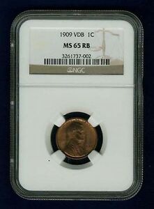 U.S. 1909-VDB   LINCOLN SMALL CENT COIN, NGC CERTIFIED MS65-RB, GEM UNCIRCULATED