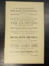 Antique 1892 Beer Ad ROCK CELLER BREWERY Stichweh Butcher Shop HELL-GATE CIGAR