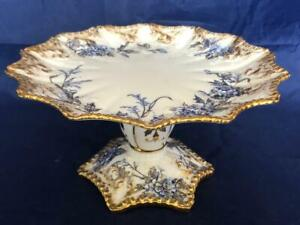 FINE ANTIQUE AYNSLEY BONE CHINA HAND PAINTED COMPORT. #1. C1900.