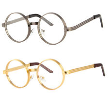 Black Gold Clear Lens Vintage Steampunk Gothic Side Shield Hipster Round glasses