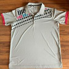 Adidas Golf L Gray, Dark Gray, Teal and Pink Pattern Polo