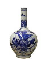 Chinese Blue White Porcelain Warfield Graphic Long Neck Vase cs2468