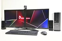 "Work from Home Dual Monitor 2x19"" PC Set i3 240 SSD 8 Ram Webcam Speakers Win10"