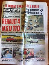 >L'AUTO-JOURNAL n°402 du 5/1966; Essai R4/ NSU 110/ Nouvelle F 1 / Mt St Michel