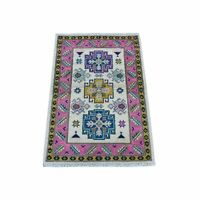 2'x3' Colorful Gray Fusion Kazak Pure Wool Hand Knotted Oriental Rug G53987