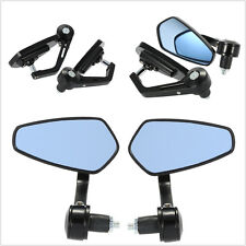 "7/8"" Handle Bar End Motorcycle Rearview Mirrors Mirror For Honda Yamaha Suzuki"