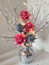 Artificial Silk Flower Arrangement Silver & Pink Flowers Mirror Vase Lights