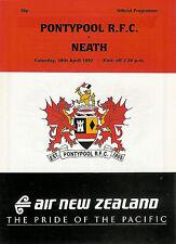 Pontypool vNeath 18 Apr 1992 RUGBY PROGRAMME