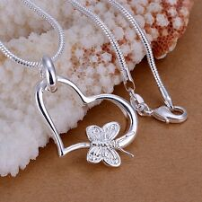 Women 925 Sterling Silver Plated Chain Butterfly Heart Necklace With Pendant QQ