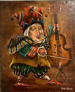 Vladimir Vitkovsky Solo For Cello Original Music Surrealism Oil Painting 36x30