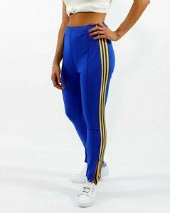 Small  adidas OG WOMEN'S AdiColor 70's TRACK PANTS  ROYAL BLUE/GOLD  US:4  LAST1