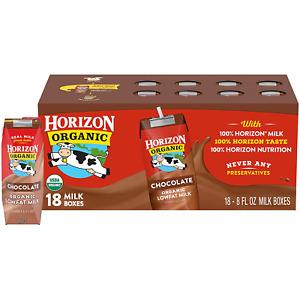 Horizon Organic Shelf-Stable 1% Low Fat Milk Boxes, Chocolate, 144 Fl Oz, 18 Pck