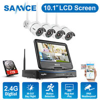 SANNCE WLAN Security Camera 4CH 1080P NVR 1TB IP Camera + Monitor CCTV System HD
