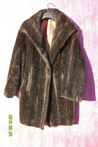 Faux Fur Coat - almost Black with a Sheen. Size 12/14.