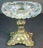 """Vintage Ornate L&L Glass Ashtray Candy Dish w/ Brass Pedestal 5"""" # 8303"""