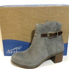 Dansko Hartley Bootie Ankle Leather Grey Buckle Side Zip Comfort Sz 39 8.5 9 NIB