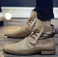 Mens British Leather Lace Up High Top Ankle Boots Riding Shoes Pointed Toe Hot