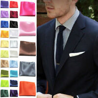 Hot Mens Satin Solid Plain Color Wedding Party Hanky Pocket Square Handkerchief