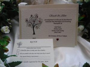Wedding Invites 'Tree of Love' with RSVP. Mix  day & evening. FREE ECONOMY P&P